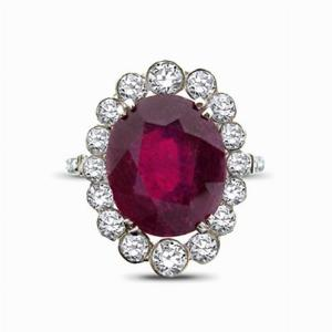 Edwardian Ruby & Diamond Cluster Ring